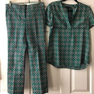 Matching pattern top and pants